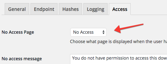 The new No Access Page setting